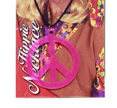 HAAC Halskette Kette mit Peace Zeichen Anhänger 9 cm neon pink, orange oder grün