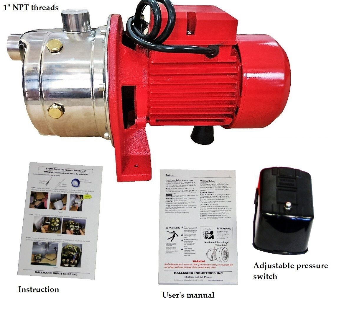 Shallow Well Jet Pump &Pressure Switch, 1 HP 18 GPM, Stainless Steel, 115/230V