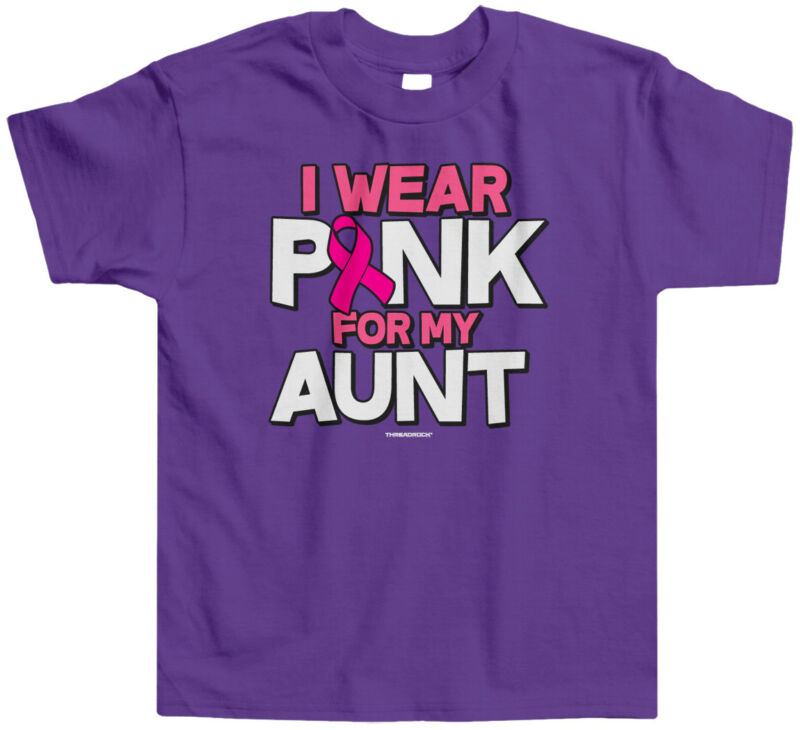 I Wear Pink For My Aunt Kids Toddler T-Shirt Tee Breast Cancer Awareness Month