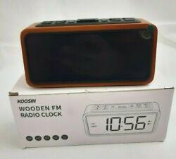 FM Radio Alarm Clock, Koosin Large LED Display Wood Digital Alarm Clock