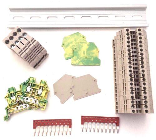 DIN Rail Terminal Block Kit Dinkle 20 DK2.5N 12 AWG Gauge 20A 600V Ground Jumper