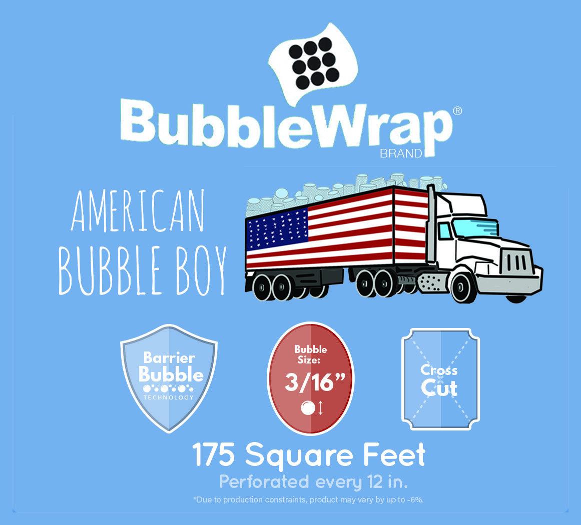 "BUBBLE WRAP , Small 3/16'', Medium 5/16, 12"" + 24"" American Bubble Boy"