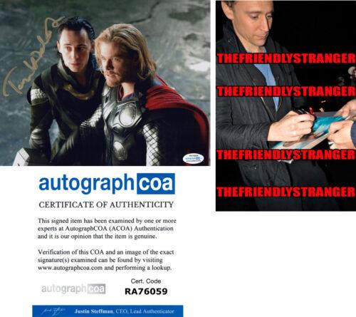 TOM HIDDLESTON signed Autographed THOR 8X10 PHOTO Proof LOKI Full Signature ACOA