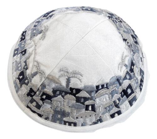 new white Jewish kippah Yarmulke-Jerusalem Embroidered Kippas israel blue&silver