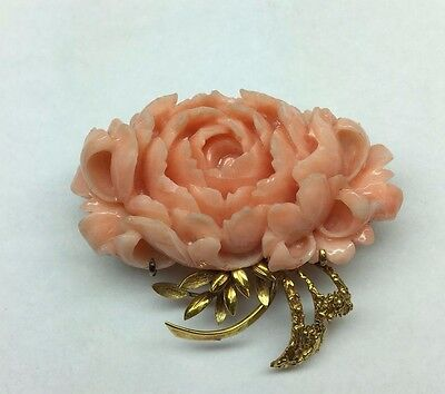 Antique Carved Floral Pink Coral and 14K Gold Pin/Brooch, Amazaing!
