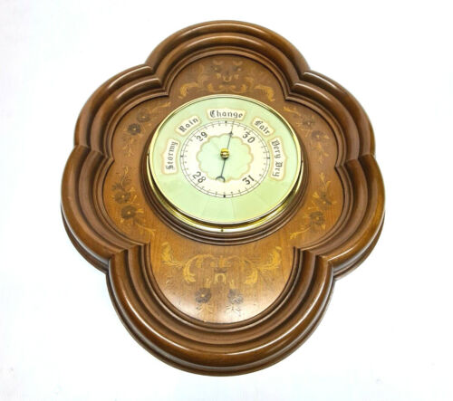 VINTAGE LARGE 22 X 18 X 3 SOLID WOOD WALL WEATHER BAROMETER W/ SET INSTRUCTIONS!