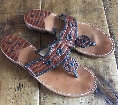 Jack Rogers Retro Calypso Navajo Jacks Sandals Brown Woven Leather USA 9M  VGC