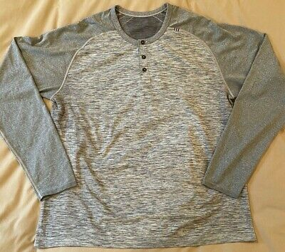 Men's Lululemon Long Sleeve Henley Shirt Gray Size XXL Yoga Athletic Workout