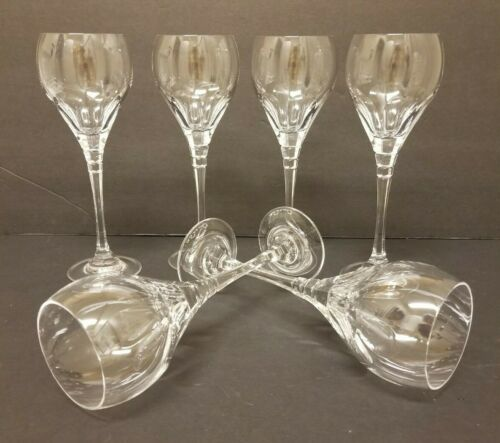 Set of 6 Clear Oscar de la Renta LE GRAND FLEUR Cut Crystal Wine Glasses SIGNED