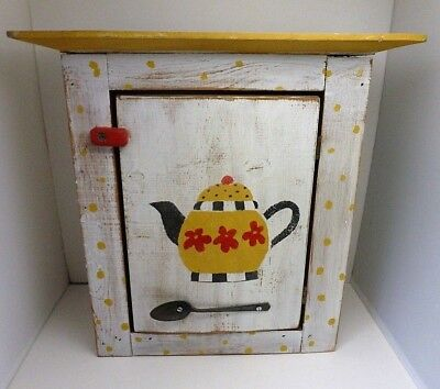 "16"" FARMHOUSE PRIMITIVE DISTRESSED WOOD TEAPOT DESIGN WALL CABINET"