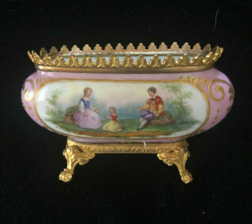 Antique Sevres France Hand Painted Porcelain with Gilt Bronze Miniature Bowl