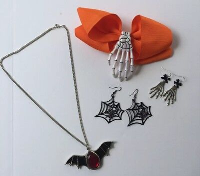 Halloween Jewelry Lot Hair Bow Earrings Necklace Skeleton Hand Spider Bat