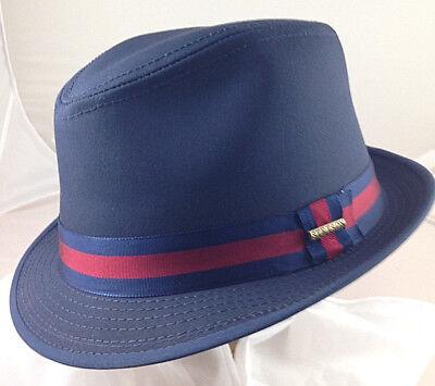 Golf Fedora (STETSON SALE * MEN BLUE FEDORA HAT * L * DRESS NEW  TRILBY REPELS WATER SUN GOLF)