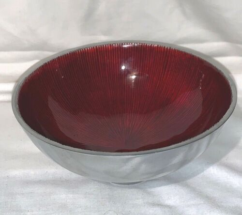 Vintage Red Enamel and Aluminum Silver Bowl