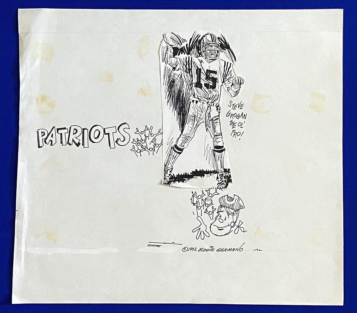 1980's patriots qb steve grogan 18x20 original cartoon art by eddie germano