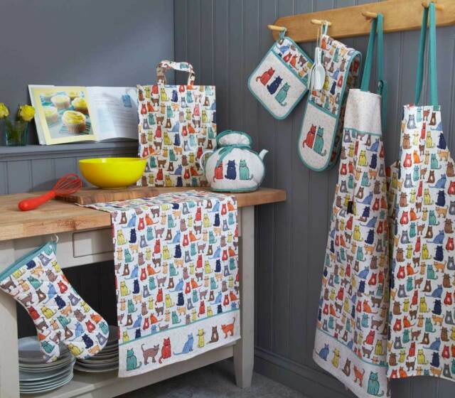 Ulster Weavers Catwalk Cats Apron,Oven Glove,Tea Towel,Placemats,Coasters or Mug