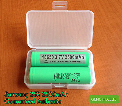 2x SAMSUNG 25R INR18650-25R 2500mAh 20A HighDrain IMR Rechargeable Battery Liion