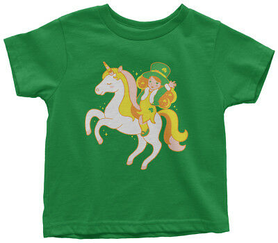 Leprechaun Girl Riding Unicorn Toddler T-Shirt St Patricks - Girl Leprechaun