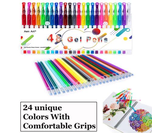 48X Gel Pens Color Glitter Set For Coloring Books Drawing Art Marker Adult Kids