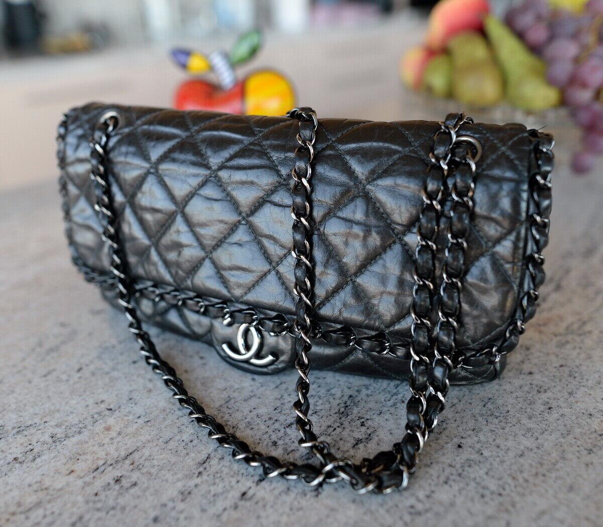 CHANEL Classic Chain Around Jumbo Flap lamb leather bag handbag purse ladies CC