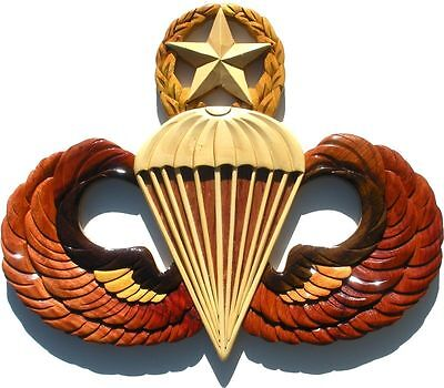 ARMY MASTER PARACHUTIST BADGE   JUMP WINGS  Handcrafted Wooden Military Plaques