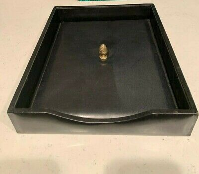 Bosca Black Executive Leather Letter Tray With Lid Organizer Vtg Usa