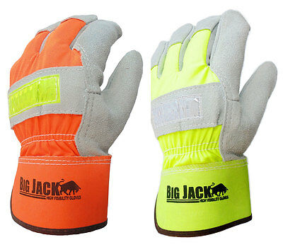 Better Grip BGBYHV Hi Visiblity Cowhide Leather Palm Gloves with safety cuff