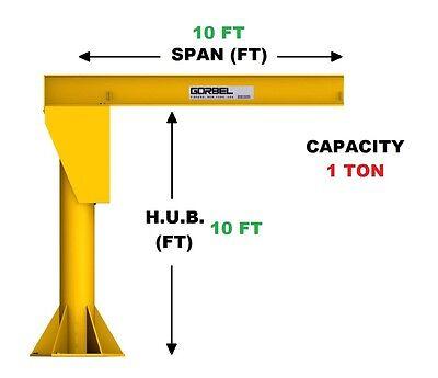 Gorbel Freestanding Jib Crane - 1 Ton Capacity Span 10 Ft Hub 10 Ft