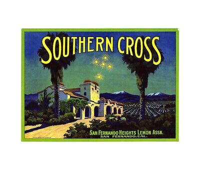 US Seller- abstract art prints Southern Cross fruit crate label poster