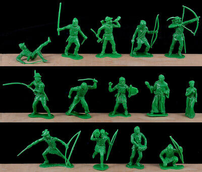 Marx Recast Robin Hood - 14 in 14 poses GREEN COLOR - 54mm plastic - SOME DAMAGE