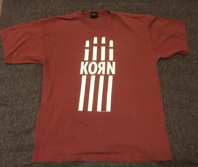 Rare KORN 1998 Burgundy T-Shirt, Follow The Leader, Original/ Authentic GIANT