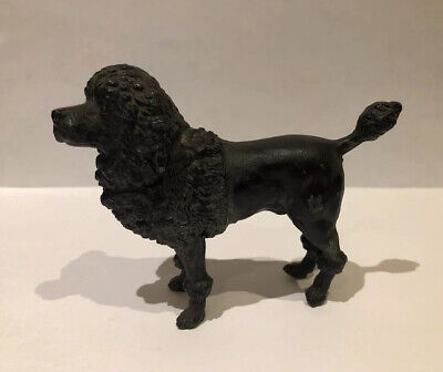 Beautiful Vintage Cold Painted Spelter Model Black Poodle 10cm
