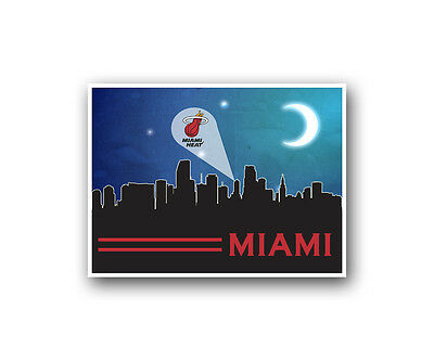 Miami Heat Poster City Skyline Art Print Man Cave Decor 12x16