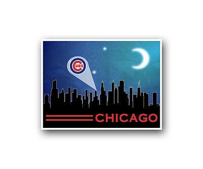 Chicago Cubs Poster City Skyline Art Print Man Cave Decor 12x16