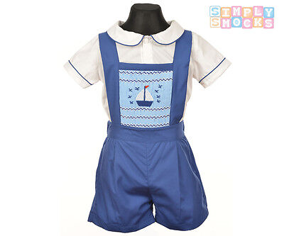 Hand Smok Segelboot Prinz George Shirt/Shorts Set Blau Roma Baby Junge Outfit (Baby Prinz Outfit)