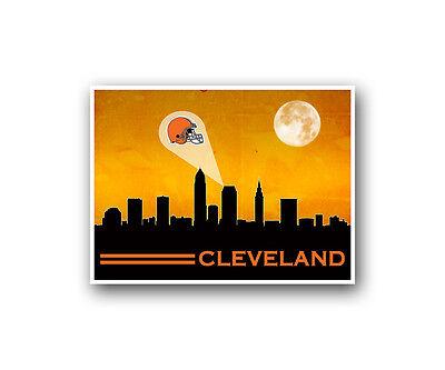 Cleveland Browns Poster City Skyline Art Print Man Cave Decor 12x16
