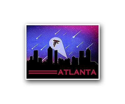 Atlanta Falcons Poster City Skyline Art Print Man Cave Decor 12x16
