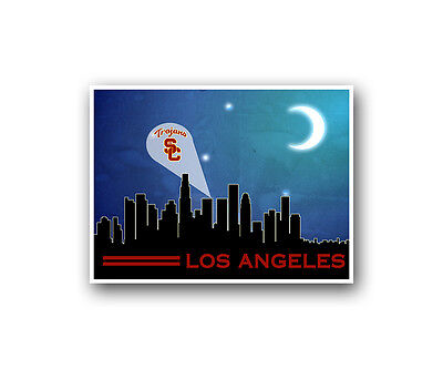 USC Trojans Poster City Skyline Art Print Man Cave Decor - Usc Decorations