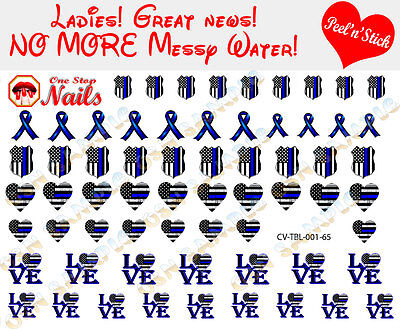 Patrol Pump Set (Thin Blue Line Heart Police  Nail Decals Clear Vinyl PEEL and STICK set of 65 )