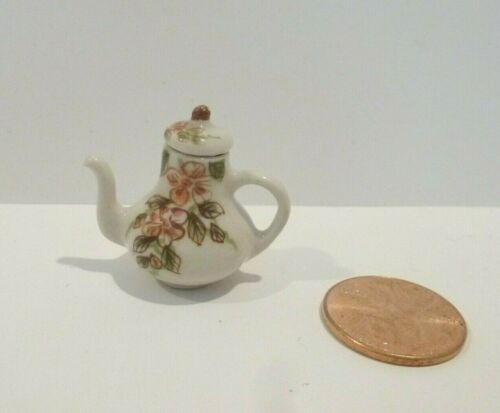 DOLLHOUSE MINIATURE TEAPOT  WITH FLORAL DESIGN