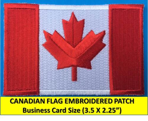 """CANADIAN FLAG EMBROIDERED PATCH IRON-ON SEW-ON (3.5x2.25"""") CANADA MAPLE LEAF RED"""