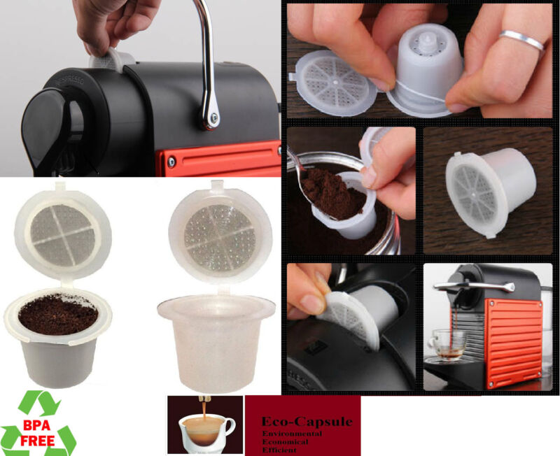 10pcs Refillable Reusable Nespresso Capsule set, Built In Stainless Steel Filter