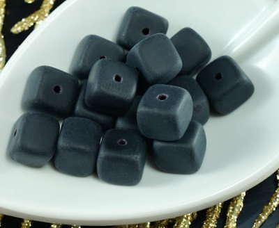 Large Matte Black Czech Glass Cube Beads Halloween 8mm x 9mm 12pcs - Halloween Glass Block Crafts