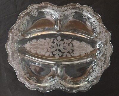 Cambridge Apple Blossom Clear Etched Glass Five Divided Serving Relish Dish