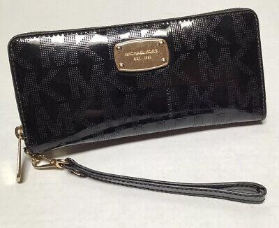 Michael Kors Jet Set Continental Black Leather Zip Organizer Wallet Wristlet
