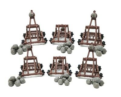 6 Piece Medieval Catapult with Boulders for Castle Wars