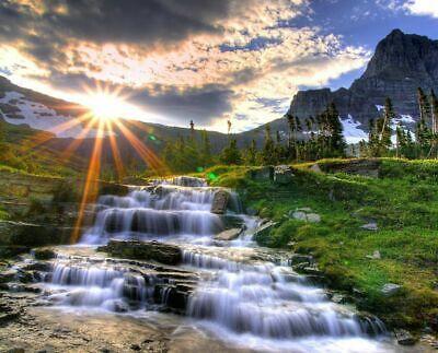 SUNRISE NATURE WATERFALL 8X10 GLOSSY PHOTO (Sunrise Glossy)
