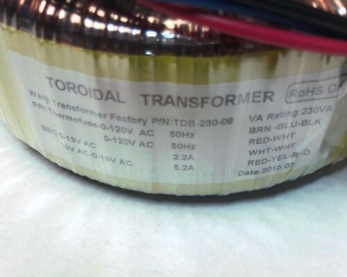 DIY TOROIDAL Audio Power TRANSFORMER TDB-230-08 VA RATING 230VA NEW!