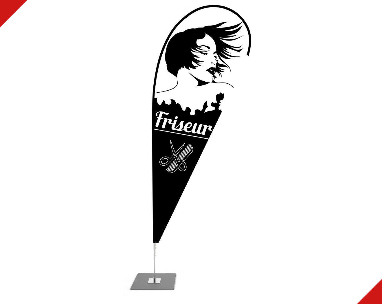 Beachflag Damenfrisuren Friseur Werbefahne mit Mast inkl Druck - 2,6m - 5,2m