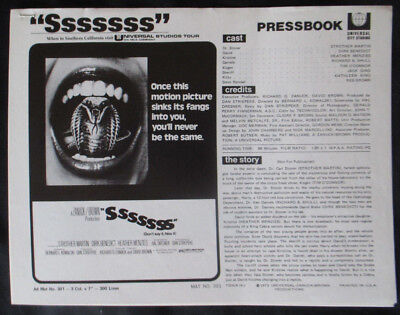 """Sssssss"" Horror 9 Page Promotional Pressbook Universal Prod 1973 Dirk Benedict"